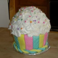 Giant Cupcake Made for my BFF birthday inspired by many cupcakes on cake central...I do not have a cupcake pan but I want one now...Top is a buttercream...
