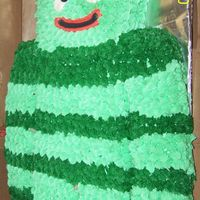 Brobee Yo Gabba Gabba!  This is a half sheet size Brobee for my darling little niece's 1st birthday she loved it ! All buttercream and used confetti cake mix...