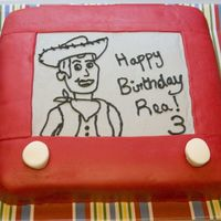 Toy Story Etch-A-Sketch Woody Cake I made this for my daughter's 3rd birthday. First time making MMF. She LOVED it!