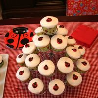 Ladybug Cupcakes I made this ladybug cupcakes for my daughter's first birthday party this weekend. They were so fun to do, and everyone loved them!