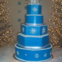 Winter Wedding I wasn't sure how this would turn out when the bride wanted a BLUE wedding cake. When all was said and done, I kind of liked it......