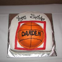 Basketball Birthday Cake This was for an 11 year old who loves basketball. I wanted to put a net on it, but ran out of time :-( He loved it anyway.