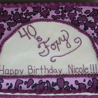 40 Is Foxy!   freehanded leopard pattern in shades of pink.