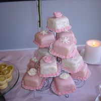 Pink And White Teacakes Almond butter cake, almond-flavored poured fondant base icing, borders and flowers in almond buttercream. Baked cakes in sqaure mold pan...
