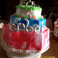 Ember's Cake for a little girl that wanted pink & blue camo with cows
