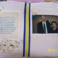 Pete & Mona buttercream with fondant & royal icing accents. Made for our pastor & his wife's birthday & anniversary