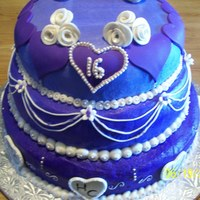 Hannah's Sweet 16   A friends daughter's purple & silver sweet 16 cake