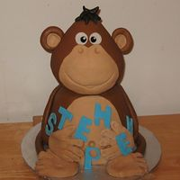 Monkey Cake inspired from another monkey cakes made on CC, all cake body 8inch and head 6inch cakes.
