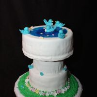 "Bird Bath Cake Bird bath cake i did for my grandmother's 80th birthday. She loves blue birds and flowers. 6"", 8"", & 10"" cakes used..."