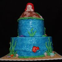 "Mermaid Cake Mermaid cake made for my niece's birthday. 6"" and 10"" cakes covered in buttercream icing. Used tinted piping gel to get the..."