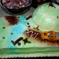 Off Road Trucking   Air brushed cake, used carmals for rocks, tree stumps and logs
