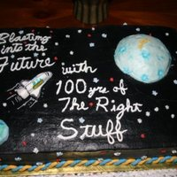 Scouts 100Yrs Cake covered in black BC as is moon, shuttle and Earth are gumpaste.