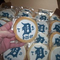 "Wedding Favor Cookies I made 200 of these for a Bride & Groom who are huge Tigers fans. Groom's last name starts with a ""D"", so the logo was a..."