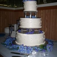 "Simply Elegant This cake (6"", 10"", 14"") was two tiers of Banana and one WASC with White Chocolate Buttercream Mousse icing (""The Cake..."