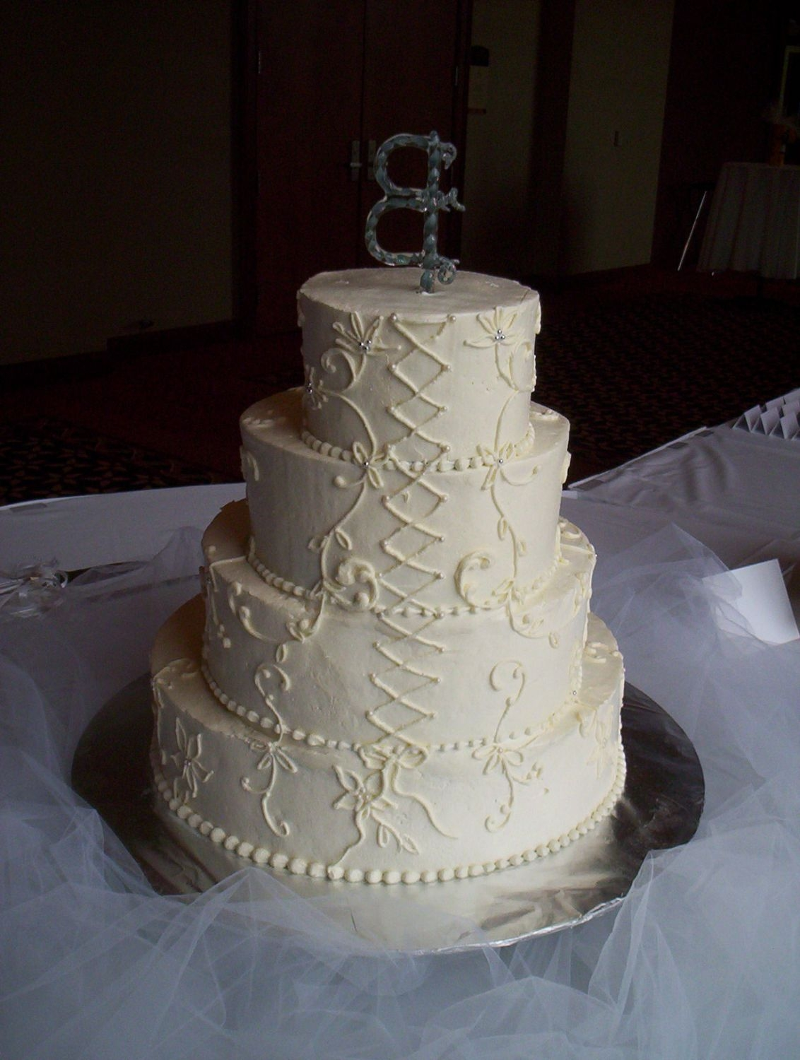 Lori's Cake, View 2 Showing the back side, emulating the lacing in the back of the bride's gown.