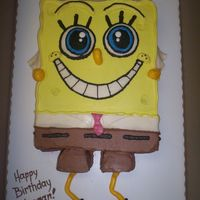 Sponge Bob Sponge Bob birthday cake for a friend's 4-year-old stepson. Hand carved all of it (and I don't know much about Sponge Bob), MMF...