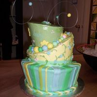 "Baby Shower Whimsy Cake Grandma (an artist) calls me and requests a ""really different"" baby shower cake. We determine together that a 3-tier whimsy cake..."