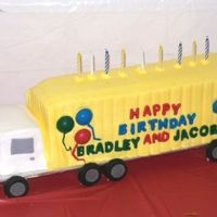 Delivering Good Wishes Cake was for 9 yr old twins. Wilton design using long loaf pan. Chocolate cake w/bc icing. Candy & fondant decorations. The wheels are...
