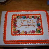 Happy Thanksgiving I made this cake for a thanksgiving dinner that my family had the weekend before thanksgiving. It is white with buttercream frosting.