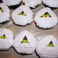 Mummy Cupcakes This is a picture of the mummy cupcakes that I made for my nephews halloween party at school.