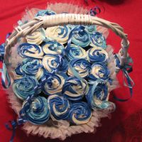Wedding Cupcake Bouquet In Light Blue And Dark Blue I made this for a friend of mine. Her wedding is going to be light blue and dark blue.
