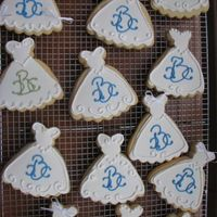 Bridal Shower Cookies NFSC with Satin Ice white fondant with royal icing details. The monogram was created by the bride's mother. Both the bride's &amp...