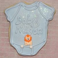 Baby Shower Cookie nfsc with royal icing & disco dust.