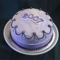 2007 Marbled Fondant Scratch (not MMF) fondant marbled in white and purple, buttercream details, over a Toba Garret white cake.