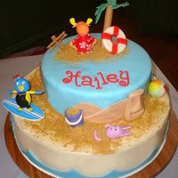 "The Backyardigans Tiki Beach Cake  This is my Backyardigans ""Surf's Up"" version of a beach cake. I made it for my daughter's birthday. Totally run out of..."