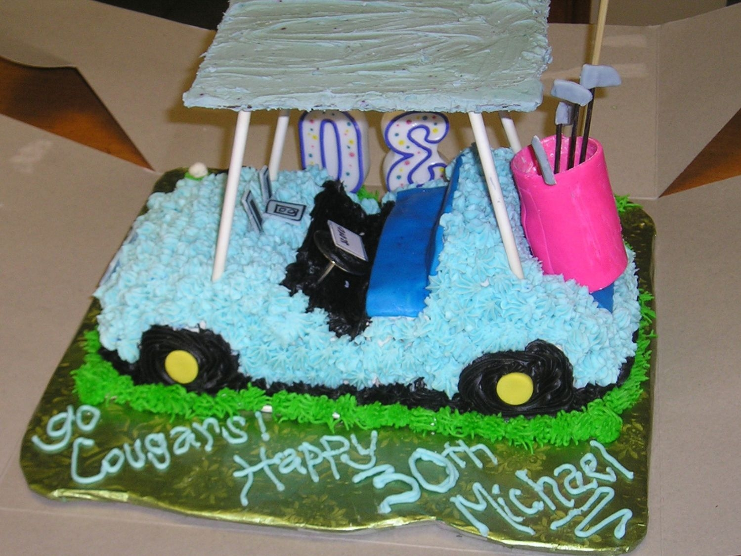 "Golf Cart The only directions given to me for my fiance's birthday cake were for it to say Go Cougars, and be ""Cougar Blue."" He was on..."