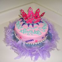 Princess Crown 7-year-old's Princess Party. Fondant crown painted with Luster Dust. Each part was made individually then assembled on the cake. The...