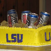 Lsu Ice Chest Cake I made this for the LSU national Championship game. The ice is sugar and cornsyryp melted down in the microwave. Thanks for looking and...