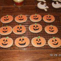 Jack O Latern Cookies NFSC and royal icing. for son's preschool party