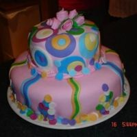 Barb's Cake This is my first tiered cake. I made it for my friend's fifth anniversary of diagnosis of breast cancer. If is carrot cake, cream...
