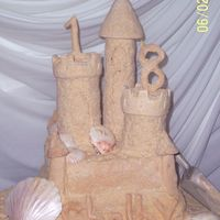 Shelby's Sandcastle This was my first attempt at a sandcastle cake. 2 tiers, 8X8 and 10X10 square chocolate w/ buttercream. The towers are made of RK treats...