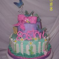 "Easton's Butterfly Garden This was made for a friends little girl turning 4. Two tiers 6"" and 9"" petal cake, 6 layers yellow w/lemon wash, buttercream and..."
