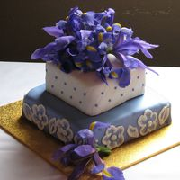 Img_1985.jpg Top tier fruitcake, bottom tier chocolate mudcake. Covered in white and purple fondant. This was my first attempt at brush embroidery....