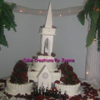 Cathedral Cake Frosted in buttercream.