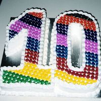 Smartie Rainbow   Simple cake design with colourful rainbow pattern of Smarties! Terrific for a 10 year old.