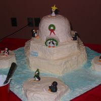 Cake Competition The entire cake was carrot cake. The igloo shapes as a 6 inch cake and the sport ball pan. The water was lightlyt tinted buttercream and...