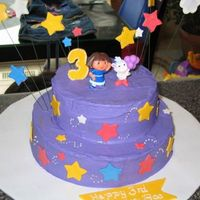 Dora Star Cake  Thank you to BJFRANCO for the idea for this cake. I made this buttercream iced cake with mmf accents for my daughter's third birthday...