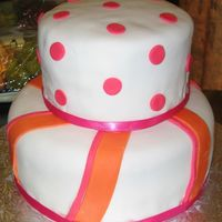 Orange And Pink Bridal Shower Cake  This was based on Antonia74's beautiful Stripes and Dot cake. I made it for my SIL bridal shower as a practice run for her wedding...