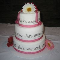 Gerbera Lyrics Wedding Cake  This was my first wedding cake, first tiered cake and second attempt at MMF. I got the idea from Antonia74's beautiful lyrics cake,...