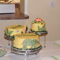 Jungle Baby Shower Cake This was for a friend's shower. She was using very non-traditional colors for her nursery. Soft yellows, greens, browns and maroons in...