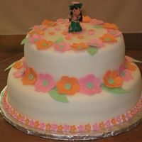 Luau Pineapple cake with coconut cream filling covered with fondant and flowers to coordinate with party theme colors. This wasa 1st birthday...