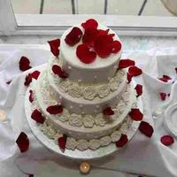 Red Rose Petals Buttercream icing with royal icing roses