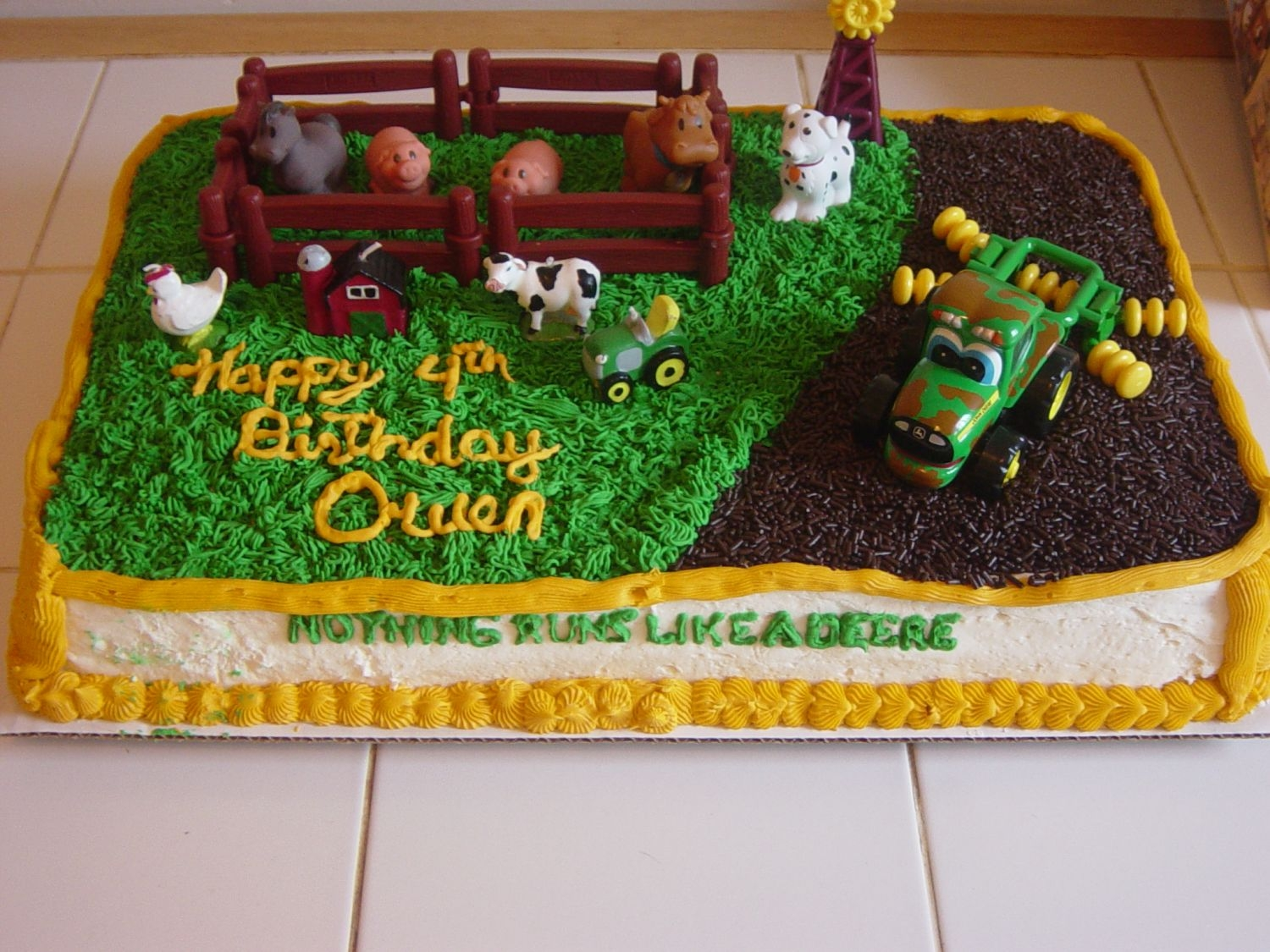 "John Deere Birthday For my son's 4th b-day. Carrot cake with Crusting Cream Cheese icing. The ""dirt"" is chocolate sprinkles. Thanks For Looking..."