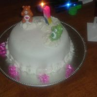 Simple Care Bears Birthday Cake White cake with strawberry filling