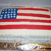 The Flag!! Wanted to use Wilton Pan but it is really small. Cake turned out great! Simple cake butter pecan with buttercream icing!!