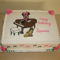 "Minnie Mouse For an 80 year old gal who loved Minnie, music, and her dog. 4""x15""x11. White with raspberry mousse."